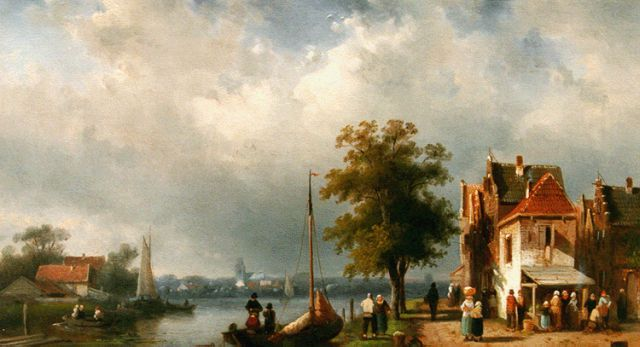 Charles Leickert | Daily activities along the river, oil on panel, 24.7 x 40.0 cm, signed l.r. and dated 1864