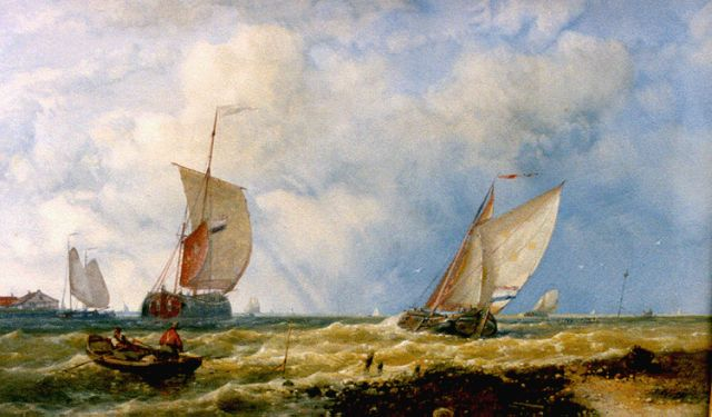 Abraham Hulk | Shipping on choppy waters, watercolour on paper, 27.5 x 42.5 cm, signed l.r. and dated 1886