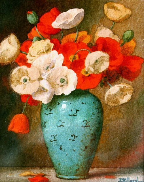 Ernest Filliard | Poppies, watercolour on paper, 16.0 x 13.0 cm, signed l.r.