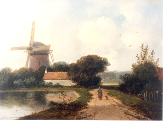 Johannes Franciscus Hoppenbrouwers | A summer landscape with a windmill along a waterway, oil on panel, 24.0 x 27.9 cm, signed l.l.