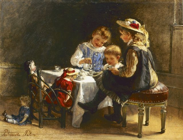 Pietronella Peters | Drinking tea with the dolls, oil on canvas laid down on painter's board, 21.8 x 28.8 cm, signed l.l.