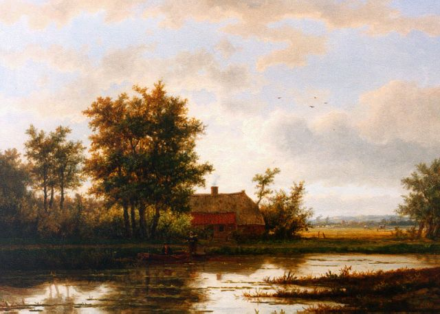 Jan Hermanus Melcher Tilmes | Farm along a waterway, oil on panel, 38.8 x 52.6 cm, signed l.r.