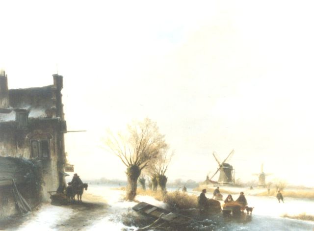 Johannes Franciscus Hoppenbrouwers | A winter landscape with skaters on the ice, oil on panel, 51.3 x 68.3 cm, signed l.l.