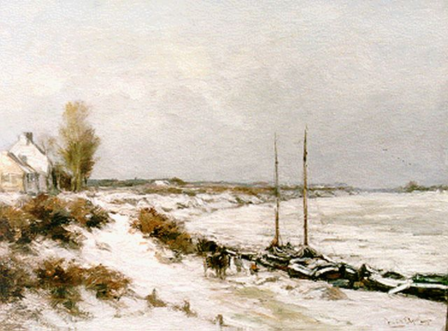 Louis Apol | Moored boats in winter, oil on canvas, 45.0 x 60.0 cm, signed l.r.