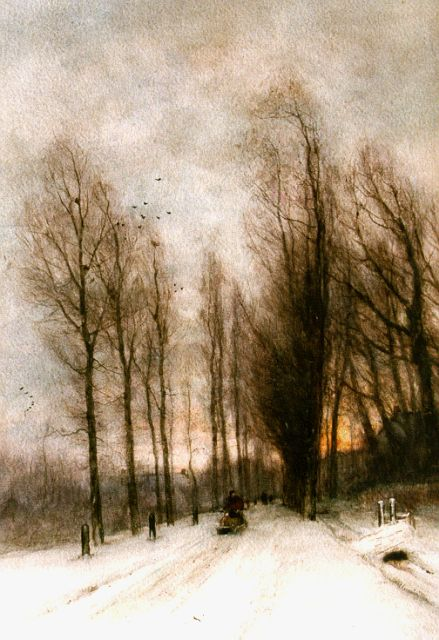 Louis Apol | A snow-covered country lane, watercolour on paper, 54.0 x 38.0 cm, signed l.l.