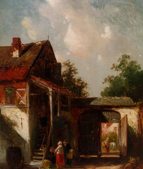 Charles Leickert | Court yard, oil on panel, 24.8 x 19.6 cm, signed l.l.