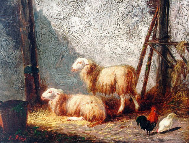 Louwerencius Plas | Sheep and chickens in a stable, oil on panel, 11.5 x 15.4 cm, signed l.l.