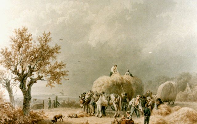Barend Cornelis Koekkoek | Hay harvest, watercolour on paper, 31.6 x 38.3 cm, signed l.r. and dated 1838
