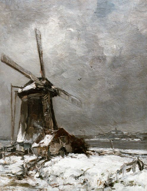 Louis Apol | A windmill in a snow-covered landscape, oil on canvas, 50.2 x 39.2 cm, signed l.l.