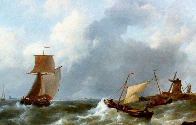 Johannes Christianus Schotel | Shipping on stormy waters, oil on panel, 65.2 x 84.2 cm, signed l.r.