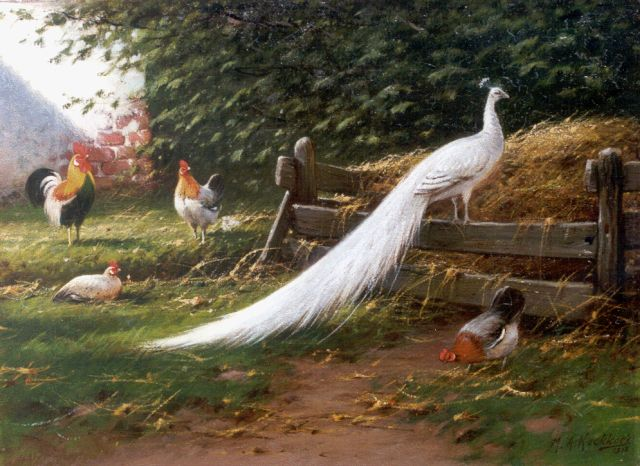Marinus Adrianus Koekkoek II | A peacock and chickens on a yard, oil on canvas, 28.4 x 38.4 cm, signed l.r. and dated 1912