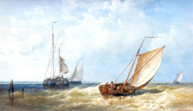 Abraham Hulk | Sailing vessels under full sail, watercolour on paper, 27.0 x 45.0 cm, signed l.r.