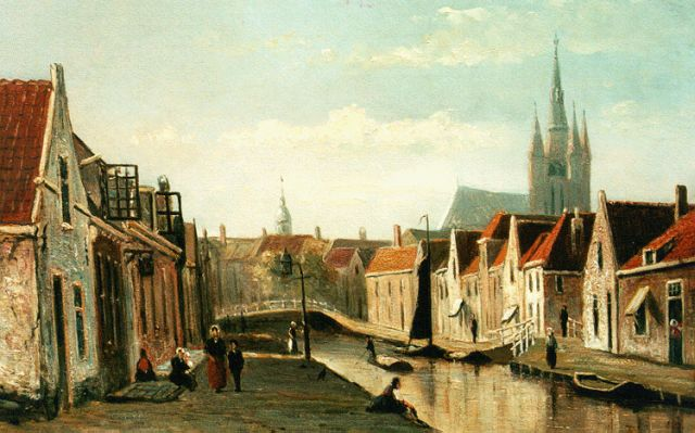 Jan Heppener | 'Het Rietveld', Delft, oil on panel, 24.1 x 34.8 cm, signed l.l. and dated 1875