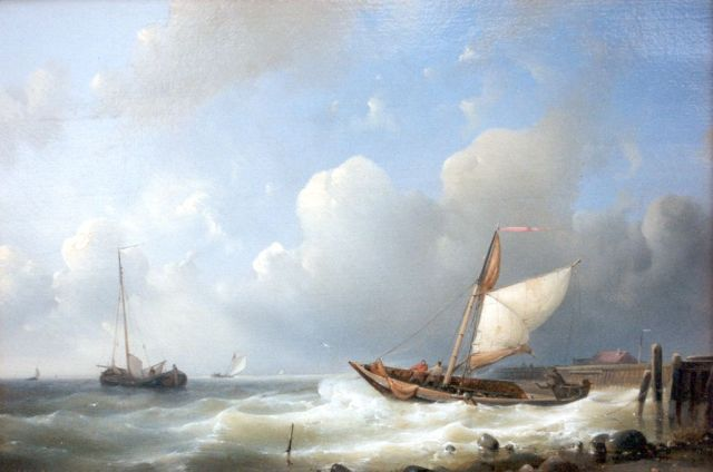 Abraham Hulk | Vessels returning to harbour, oil on panel, 21.6 x 31.7 cm, signed l.l.