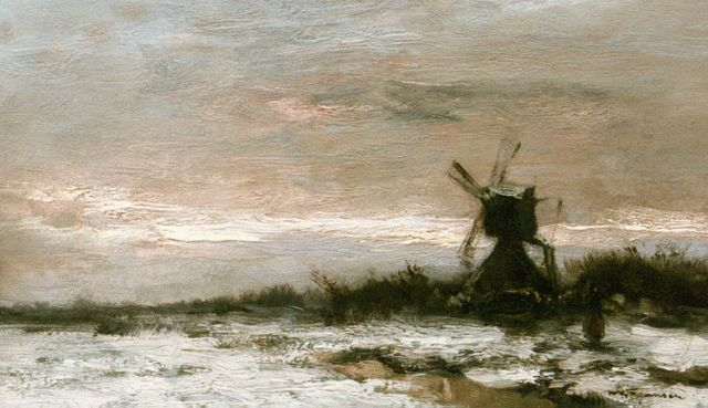 Willem George Frederik Jansen | A windmill in a snow-covered polder landscape, oil on painter's board, 20.6 x 34.5 cm, signed l.r.