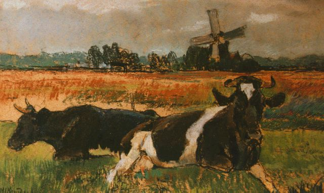 Herman Kruyder | Cows in a meadow, pastel on painter's board, 20.9 x 33.4 cm, signed l.l. and dated '12