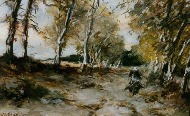 Louis Apol | On a forest path in autumn, watercolour on paper, 15.0 x 22.5 cm, signed l.l.