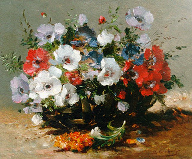 Cauchois E.H.  | Anemones in a basket, oil on canvas, 37.7 x 46.2 cm, signed l.r.
