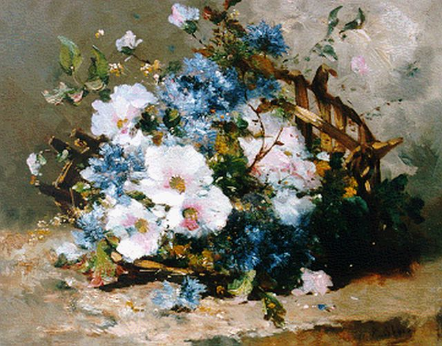Cauchois E.H.  | A bunch of wildflowers, oil on canvas, 37.7 x 46.2 cm, signed l.r.
