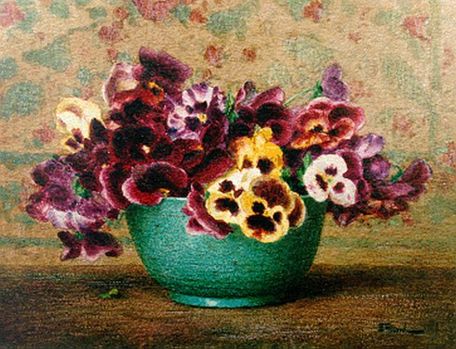 Ernest Filliard | Pansies in a bowl, watercolour on paper, 26.0 x 34.0 cm, signed l.r.
