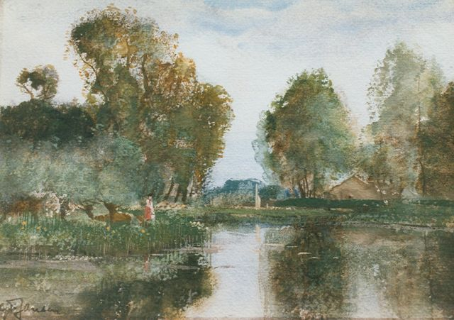 Willem George Frederik Jansen | A polder canal, watercolour on paper, 17.5 x 25.0 cm, signed l.l.
