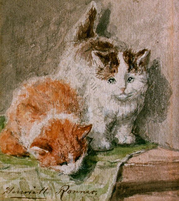 Henriette Ronner-Knip | Two kittens, watercolour on paper, 11.5 x 9.5 cm, signed l.l.