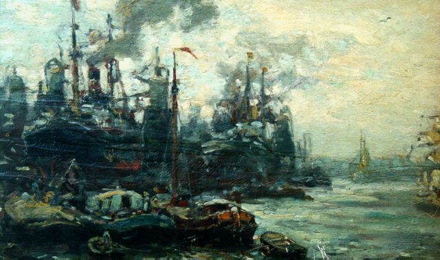 Evert Moll | The harbour of Rotterdam, oil on panel, 25.0 x 38.0 cm, signed l.r.