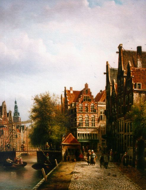 Johannes Franciscus Spohler | A canal in a Dutch town, oil on canvas, 43.9 x 34.6 cm, signed l.r.