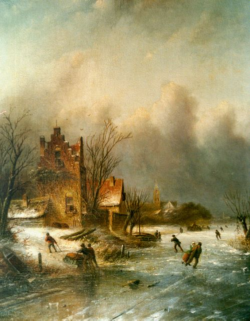 Jacob Jan Coenraad Spohler | A winter landscape, oil on canvas, 44.3 x 35.5 cm, signed l.l.