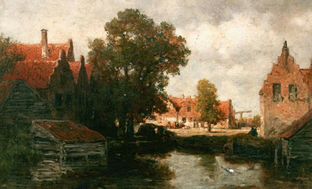 Willem Roelofs | Houses along a waterway, oil on panel, 33.4 x 48.0 cm, signed l.r.
