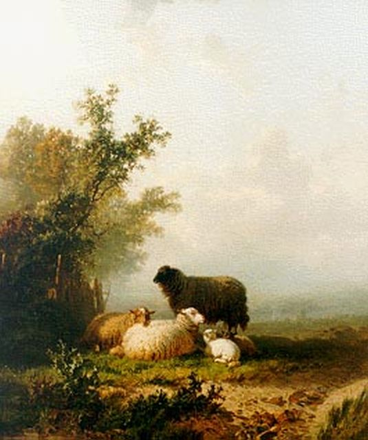Alfred Edouard Agenor van Bylandt | Sheep in a landscape, oil on canvas, 60.0 x 51.0 cm, signed l.r.