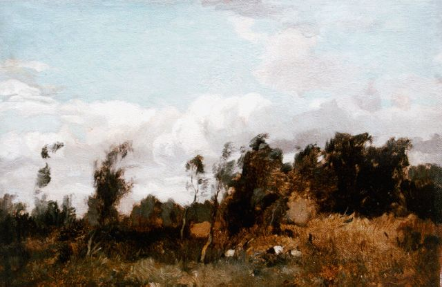 Ype Wenning | A landscape with cattle, oil on canvas, 21.1 x 30.0 cm, signed l.r. and dated '76