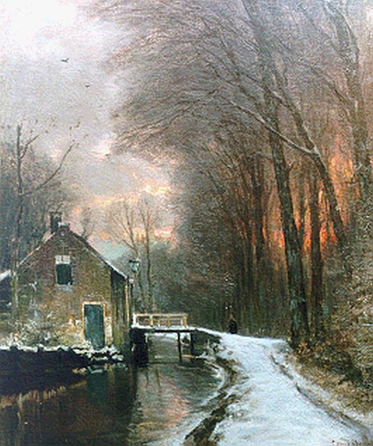 Louis Apol | A colourful sunset in winter, oil on canvas, 61.0 x 51.0 cm, signed l.r.