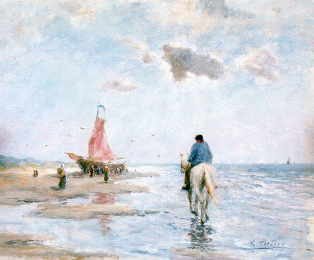 Evert Pieters | A horseman on the beach, oil on cardboard, 50.8 x 61.6 cm, signed l.r.