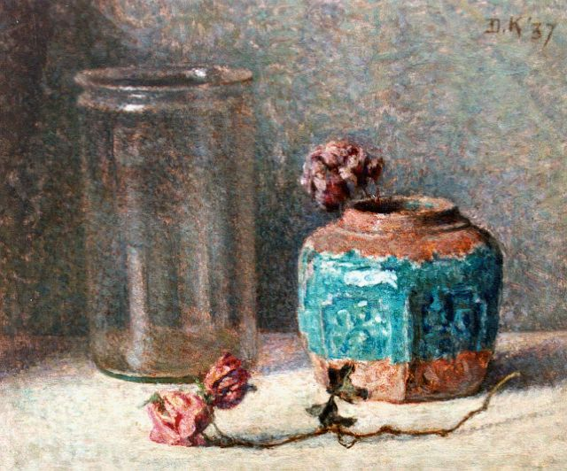 Douwe Komter | A still life with a ginger jar, oil on painter's board, 25.1 x 30.1 cm, signed u.r. and dated '37