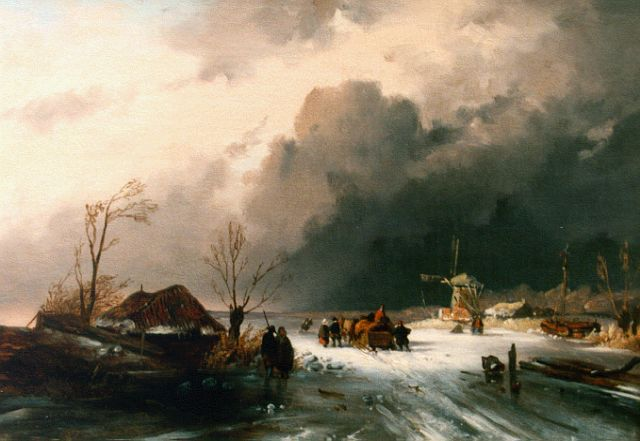 Charles Leickert | Winter landscape with skaters on the ice, oil on canvas, 32.5 x 46.0 cm, signed l.l. with monogram