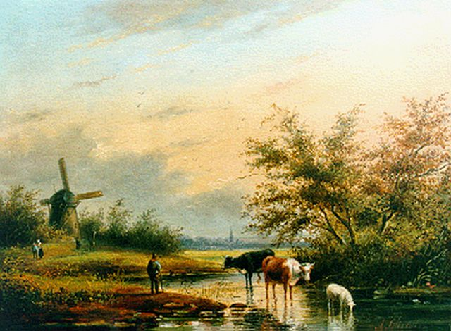 George Henry Hendriks | A summer landscape with watering cows, oil on panel, 22.0 x 29.7 cm, signed l.r. with A. Christ and painted circa 1858
