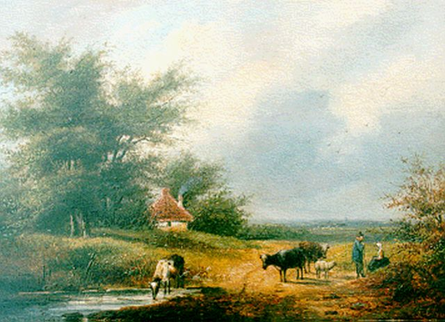 George Henry Hendriks | A summer landscape with cattle, oil on panel, 21.6 x 30.2 cm, signed l.r. with A. Christ