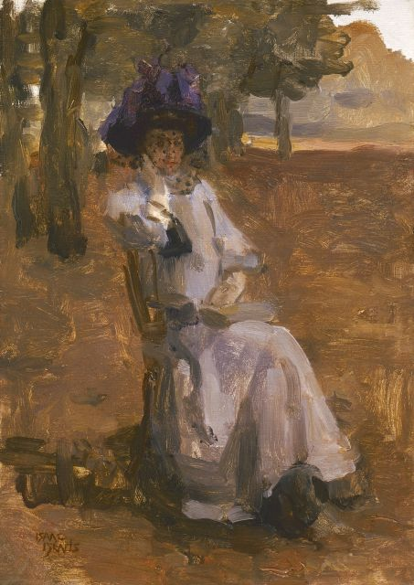 Isaac Israels | An elegant lady on a chair, Bois de Boulogne, oil on canvas, 46.5 x 33.0 cm, signed l.l.