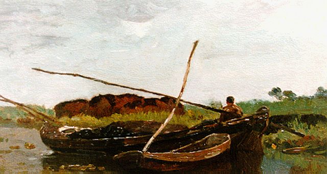 Paul Joseph Constantin Gabriel | A flatboat in a polder landscape, oil on canvas laid down on panel, 18.5 x 32.0 cm, signed l.r.