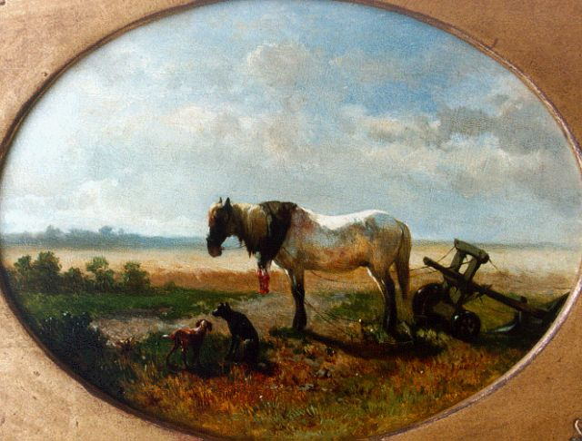 Jan de Haas | Horse (counterpart), oil on panel, 19.8 x 25.7 cm, signed l.l. and dated '58