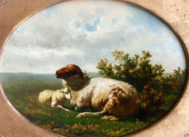 Jan de Haas | Sheep and lamb (counterpart), oil on panel, 18.0 x 25.4 cm, signed l.l. with monogram