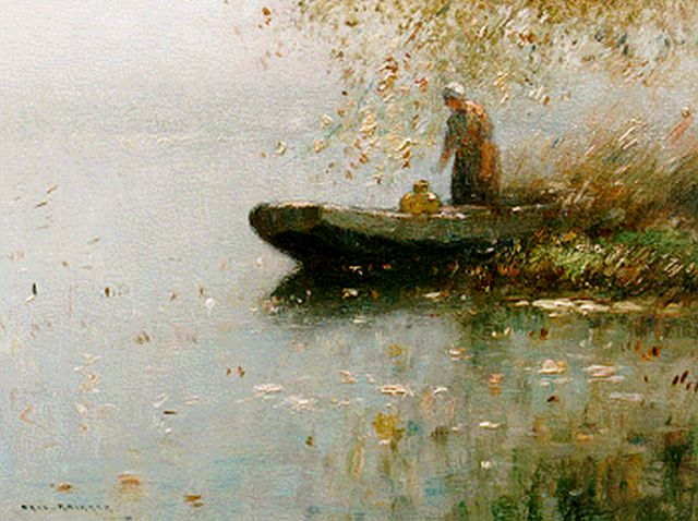 Aris Knikker | A farmer's wife in a flatboat, oil on panel, 18.0 x 24.0 cm, signed l.l.