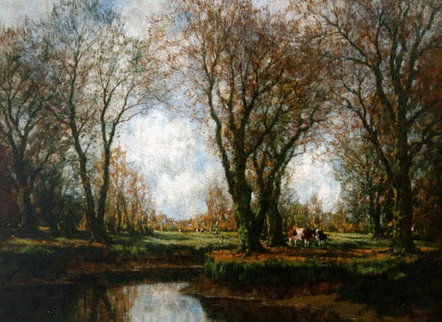 Arnold Marc Gorter | Cows grazing along the Vordense beek, oil on canvas, 75.5 x 100.0 cm, signed l.r.