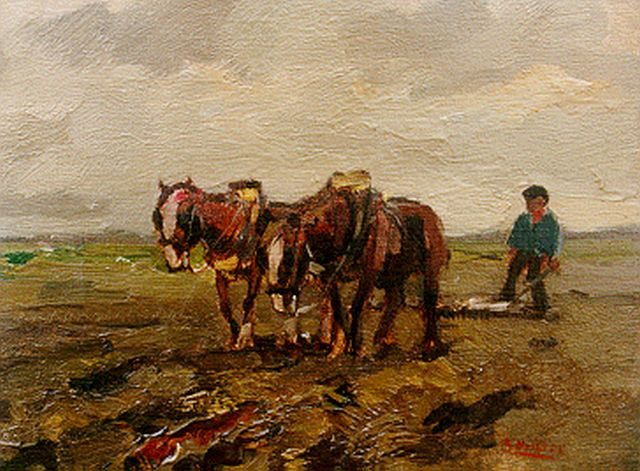 Cor Noltee | Ploughing the fields, oil on canvas, 18.0 x 24.0 cm, signed l.r.