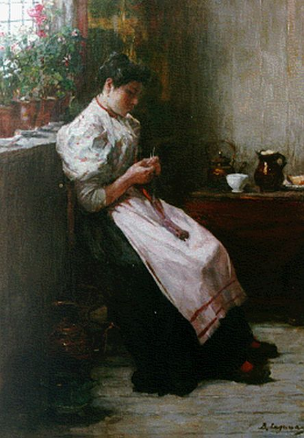 Baruch  Lopez de Leao Laguna | Interior with woman knitting, oil on canvas, 56.5 x 39.9 cm, signed l.r.