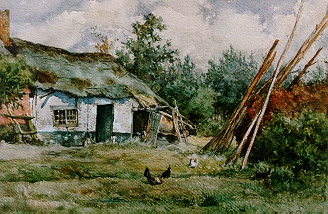 Roelofs W.  | Chickens on a yard, Putten, watercolour on paper, 29.5 x 45.0 cm, signed l.r. and dated 1876