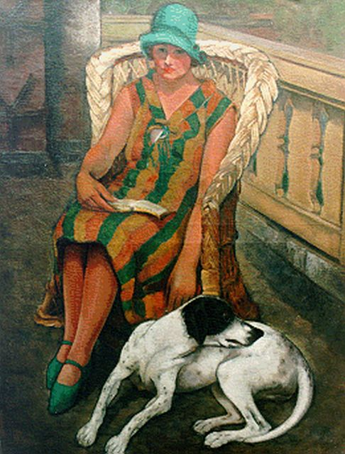 Harmen Meurs | A lady and her dog, oil on canvas, 116.2 x 90.0 cm, signed l.r. and dated 1925