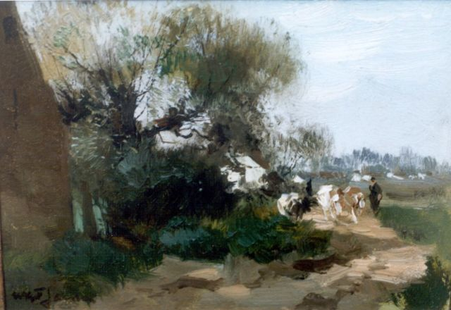 Willem George Frederik Jansen | A herdsman with cattle, oil on panel, 15.1 x 21.6 cm, signed l.l.