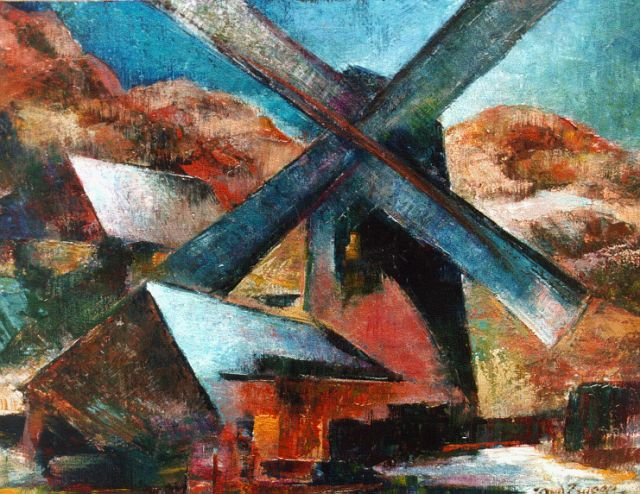 Douwe van der Zweep | A windmill in a landscape, oil on canvas laid down on painter's board, 28.7 x 38.2 cm, signed l.r. and dated '51